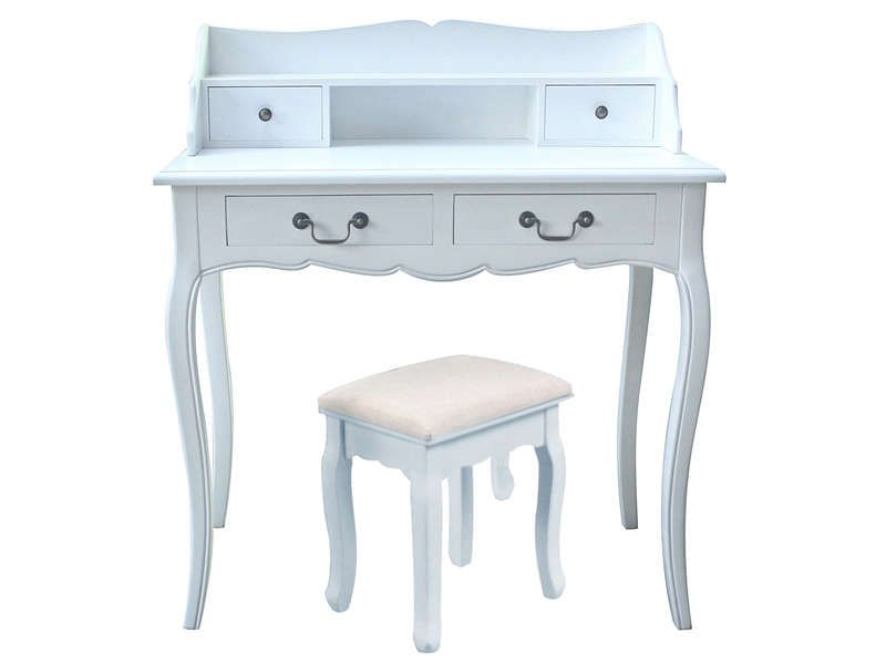 Bureau josephine coloris blanc conforama pickture for Coiffeuse meuble conforama