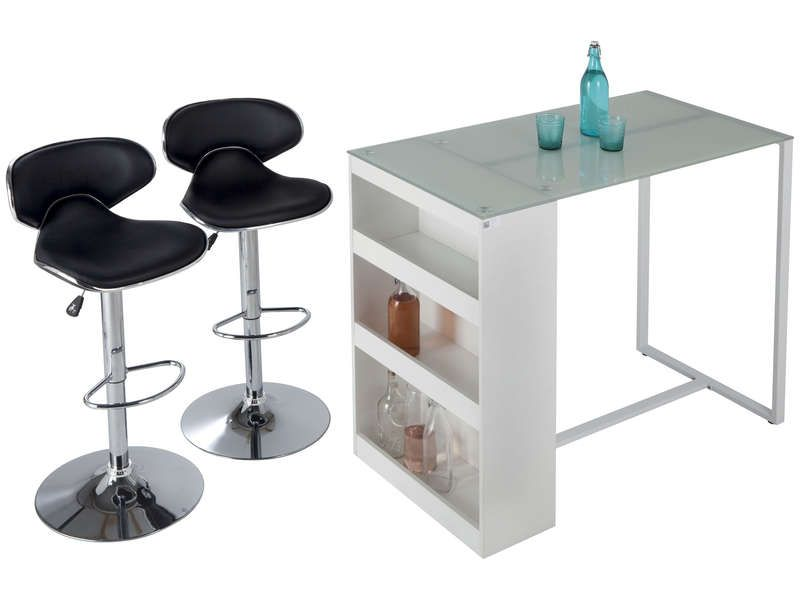 table de bar lot de 2 tabourets tekila conforama pickture. Black Bedroom Furniture Sets. Home Design Ideas