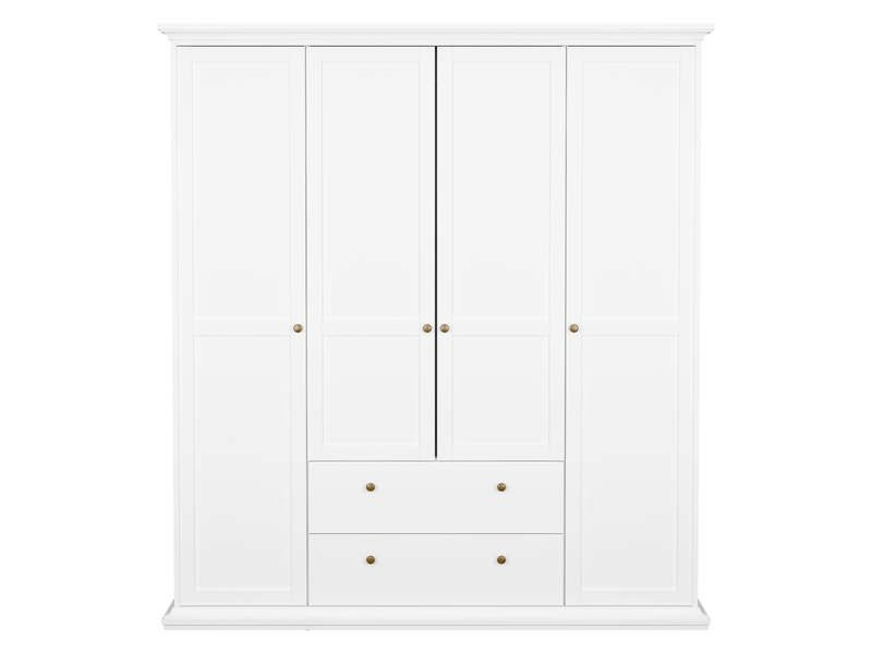 armoire 4 portes paris coloris blanc conforama pickture. Black Bedroom Furniture Sets. Home Design Ideas