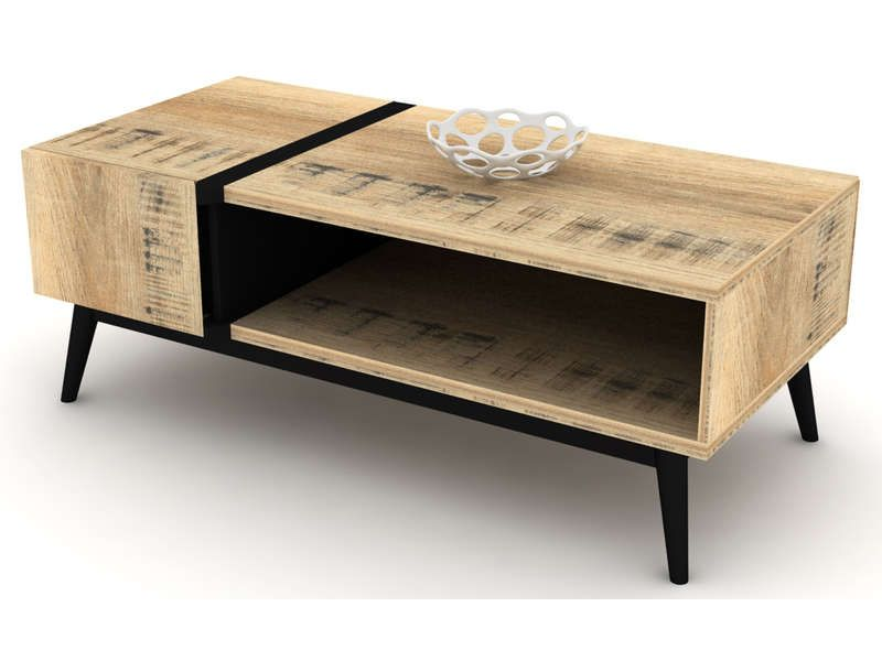 Table basse ethnica coloris gris noir conforama pickture - Table basse industrielle pas cher ...