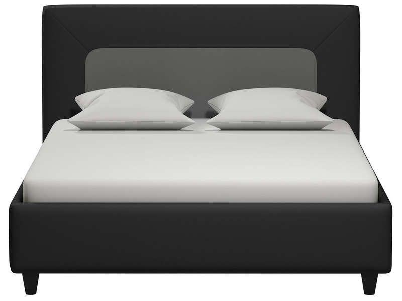 lit adulte 140x190 cm clikk coloris noir et gris conforama pickture. Black Bedroom Furniture Sets. Home Design Ideas