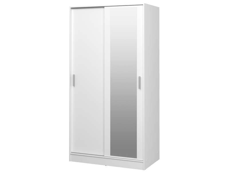 armoire 2 portes coulissantes focus coloris blanc. Black Bedroom Furniture Sets. Home Design Ideas