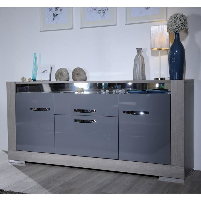 alcova bahut laqu gris et chene gris 190 cm aucune. Black Bedroom Furniture Sets. Home Design Ideas