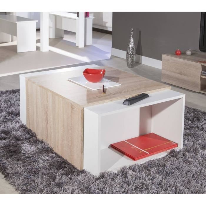 charly table basse modulable col chene et blanc aucune. Black Bedroom Furniture Sets. Home Design Ideas