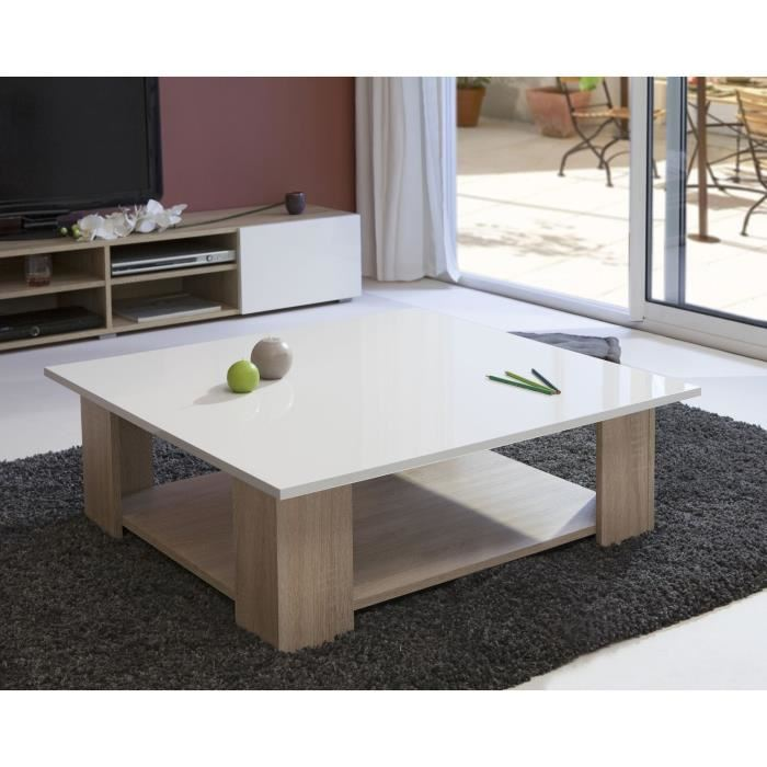 lime table basse carr e col chene blanc laqu aucune. Black Bedroom Furniture Sets. Home Design Ideas