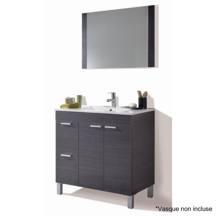 aktiva meuble sous vasque gris cendr et miroir aucune pickture. Black Bedroom Furniture Sets. Home Design Ideas