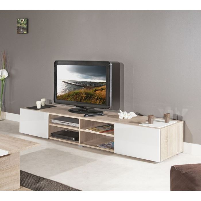 mango meuble tv 185cm coloris chene et blanc aucune. Black Bedroom Furniture Sets. Home Design Ideas
