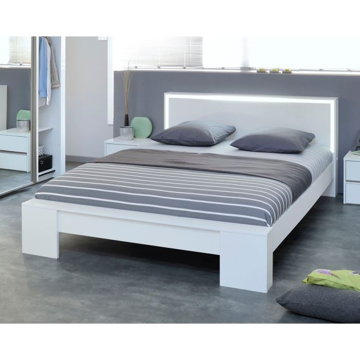 perla lit 180x200 blanc tete de lit lumineuse aucune. Black Bedroom Furniture Sets. Home Design Ideas