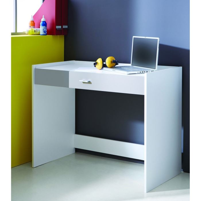 ludique bureau 1 tiroir blanc et gris aucune pickture. Black Bedroom Furniture Sets. Home Design Ideas