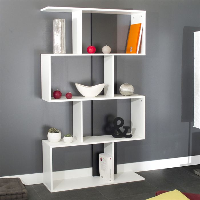 cherry etagere d co blanche 89 x 28 x 164 cm aucune pickture. Black Bedroom Furniture Sets. Home Design Ideas