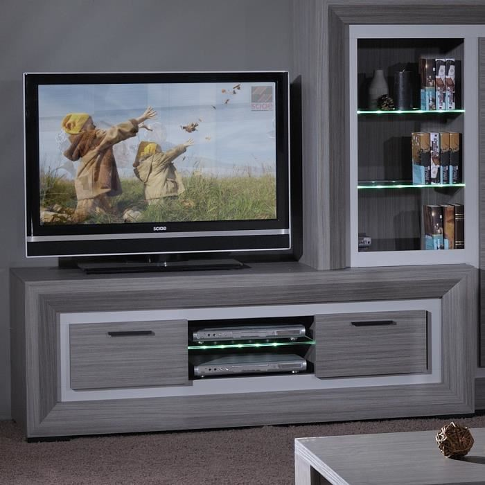 lynea banc tv bois gris et laque l170 cm aucune pickture. Black Bedroom Furniture Sets. Home Design Ideas