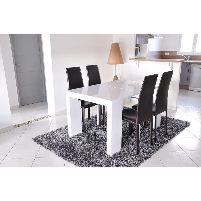 Zack table console extensible 145cm blanc laqu aucune pickture - Table console blanc laque ...