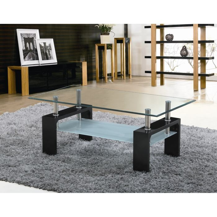 sofia table basse laqu e noire a plateau verre aucune. Black Bedroom Furniture Sets. Home Design Ideas
