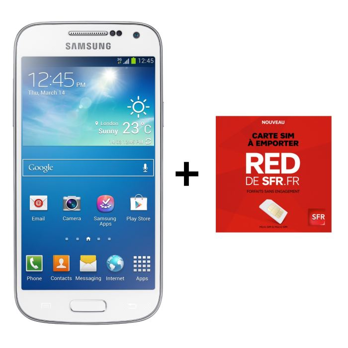 pack galaxy s4 mini blanc carte sim red de sfr samsung pickture. Black Bedroom Furniture Sets. Home Design Ideas