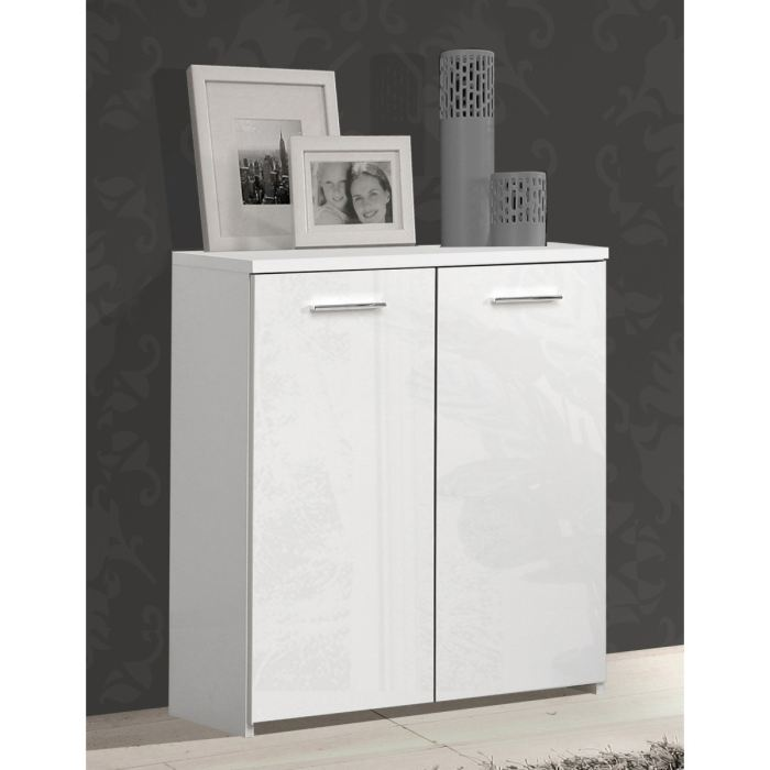 crown buffet bas blanc brillant 2 portes aucune pickture. Black Bedroom Furniture Sets. Home Design Ideas