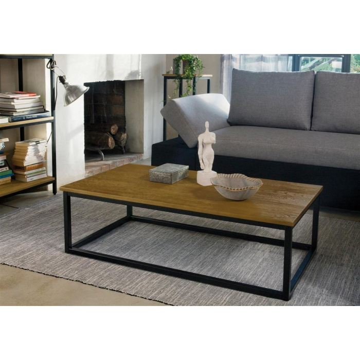 Facto table basse rectangle chene m tal 110x60 aucune for Table basse chene metal