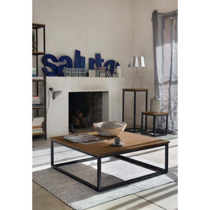 Facto table basse carr e chene m tal 85x85cm aucune for Table basse chene metal