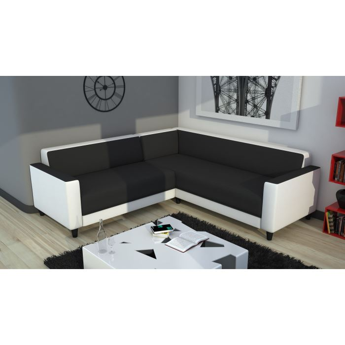 firr canap d 39 angle panoramique blanc gris aucune pickture. Black Bedroom Furniture Sets. Home Design Ideas