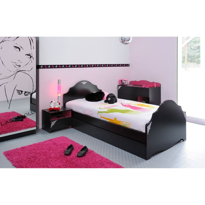 glam chambre complete fille 90x190 cm noir et rose. Black Bedroom Furniture Sets. Home Design Ideas