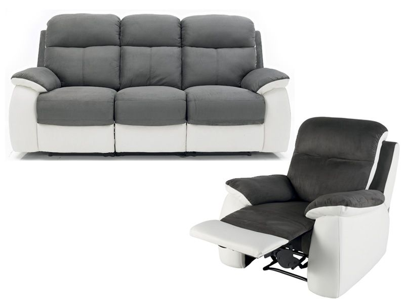 ensemble canap fauteuil de relaxation white conforama. Black Bedroom Furniture Sets. Home Design Ideas