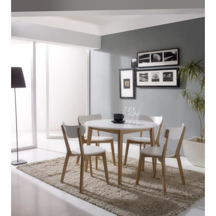 carole table 4 chaises blanc et bois massif aucune pickture. Black Bedroom Furniture Sets. Home Design Ideas