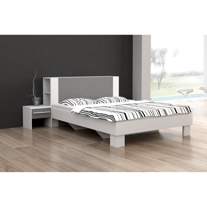 lou lit blanc et gris 140 x 190 cm aucune pickture. Black Bedroom Furniture Sets. Home Design Ideas