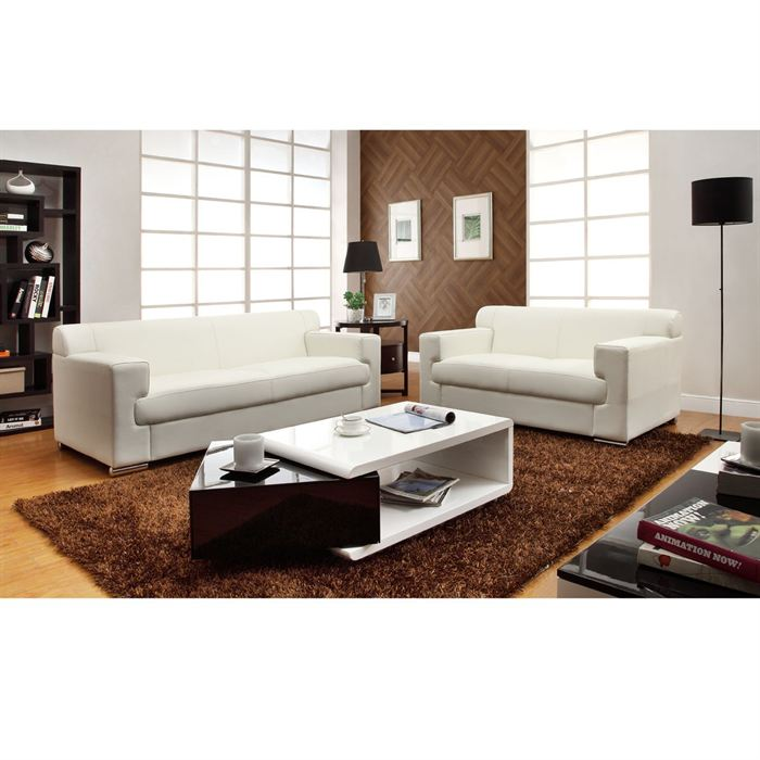 cubo ensemble canap 3 2 pl en cuir buffle blanc aucune. Black Bedroom Furniture Sets. Home Design Ideas