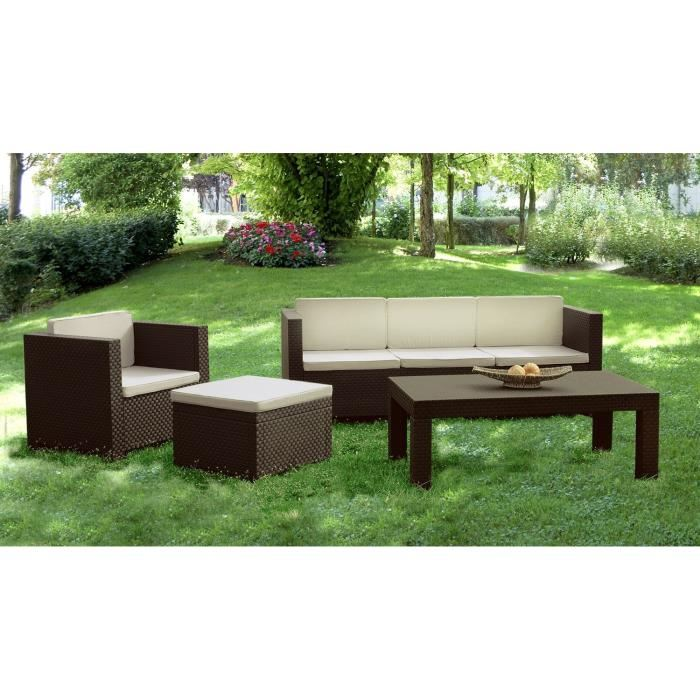 Rapallo salon de jardin aspect rotin chocolat aucune pickture - Salon de jardin rotin naturel ...