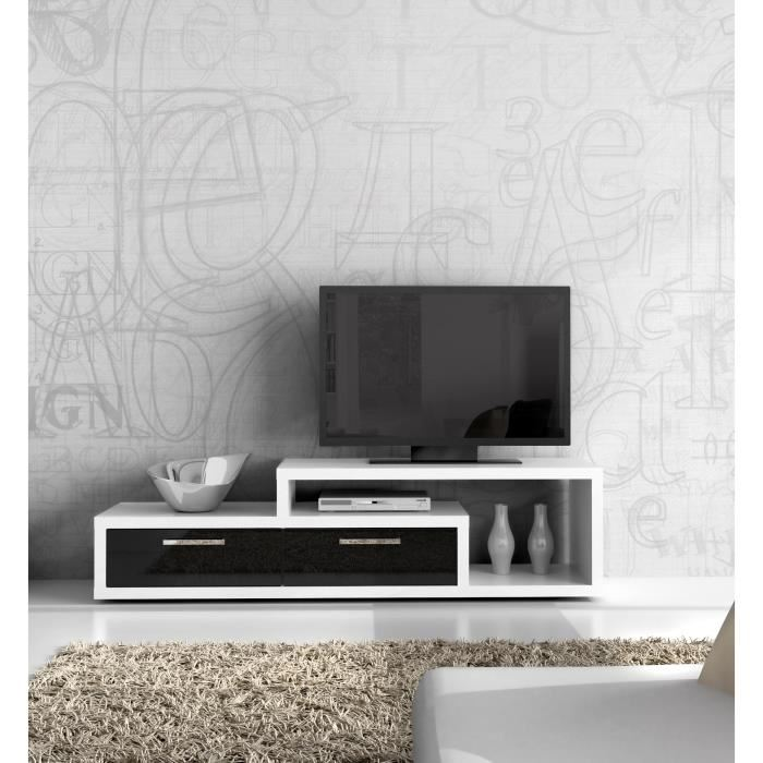 shine meuble tv blanc noir brillant 170 x 44 cm aucune. Black Bedroom Furniture Sets. Home Design Ideas