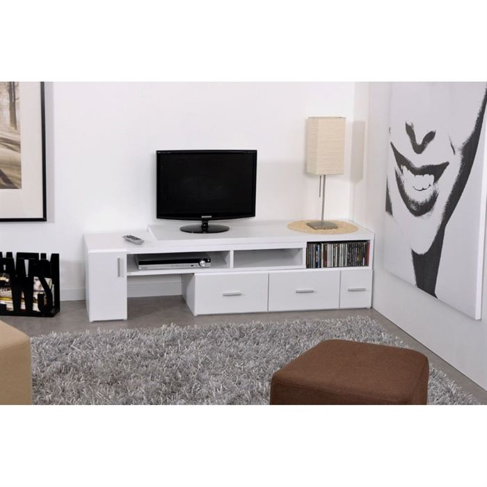 slide meuble tv extensible blanc aucune pickture. Black Bedroom Furniture Sets. Home Design Ideas