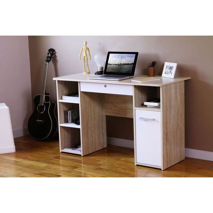 rio bureau 120cm coloris chene et blanc aucune pickture. Black Bedroom Furniture Sets. Home Design Ideas
