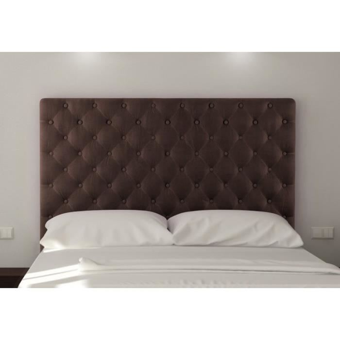 sogno tete de lit capitonn e 180 cm tissu marron aucune. Black Bedroom Furniture Sets. Home Design Ideas