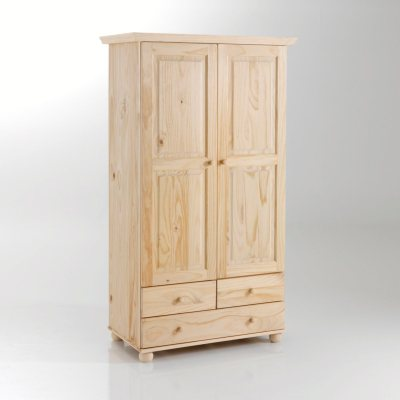 armoire pin massif 2 portes penderie 3 tiroirs la. Black Bedroom Furniture Sets. Home Design Ideas