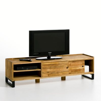 banc tv noyer massif about et acier hiba la redoute pickture. Black Bedroom Furniture Sets. Home Design Ideas