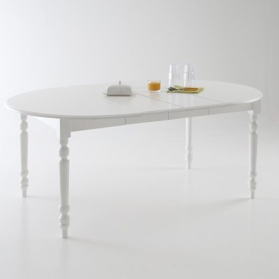 table ronde 2 allonges pin massif coloris blanc 4 la redoute pickture. Black Bedroom Furniture Sets. Home Design Ideas