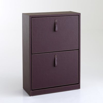 meuble range chaussures 2 abattants imit cuir la. Black Bedroom Furniture Sets. Home Design Ideas
