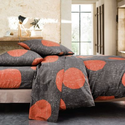 parure housse de couette taie s dots orange la. Black Bedroom Furniture Sets. Home Design Ideas