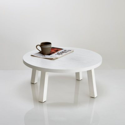 Table basse ronde en fr ne laqu blanc jimi la redoute for Table basse ronde blanc