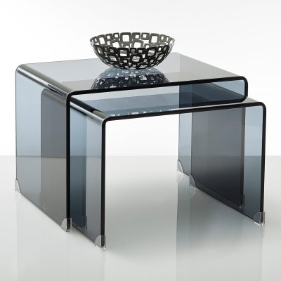 table basse verre tremp fum joan lot de 2 la redoute. Black Bedroom Furniture Sets. Home Design Ideas