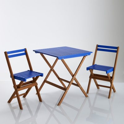 Ensemble table de jardin 2 chaises pliables en la for Table jardin la redoute