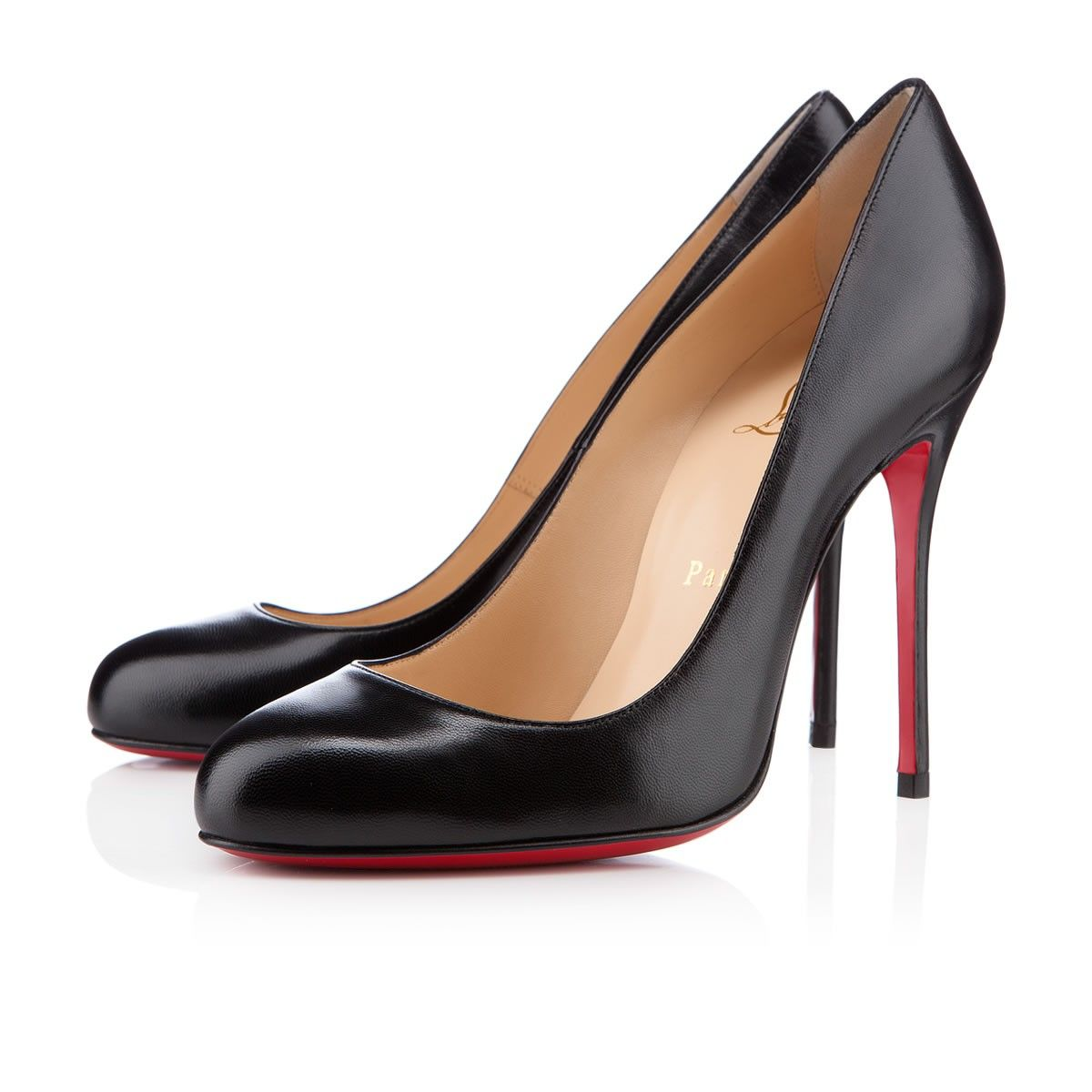 fifi 100 mm chevreau noir escarpins pour femme christian louboutin pickture. Black Bedroom Furniture Sets. Home Design Ideas