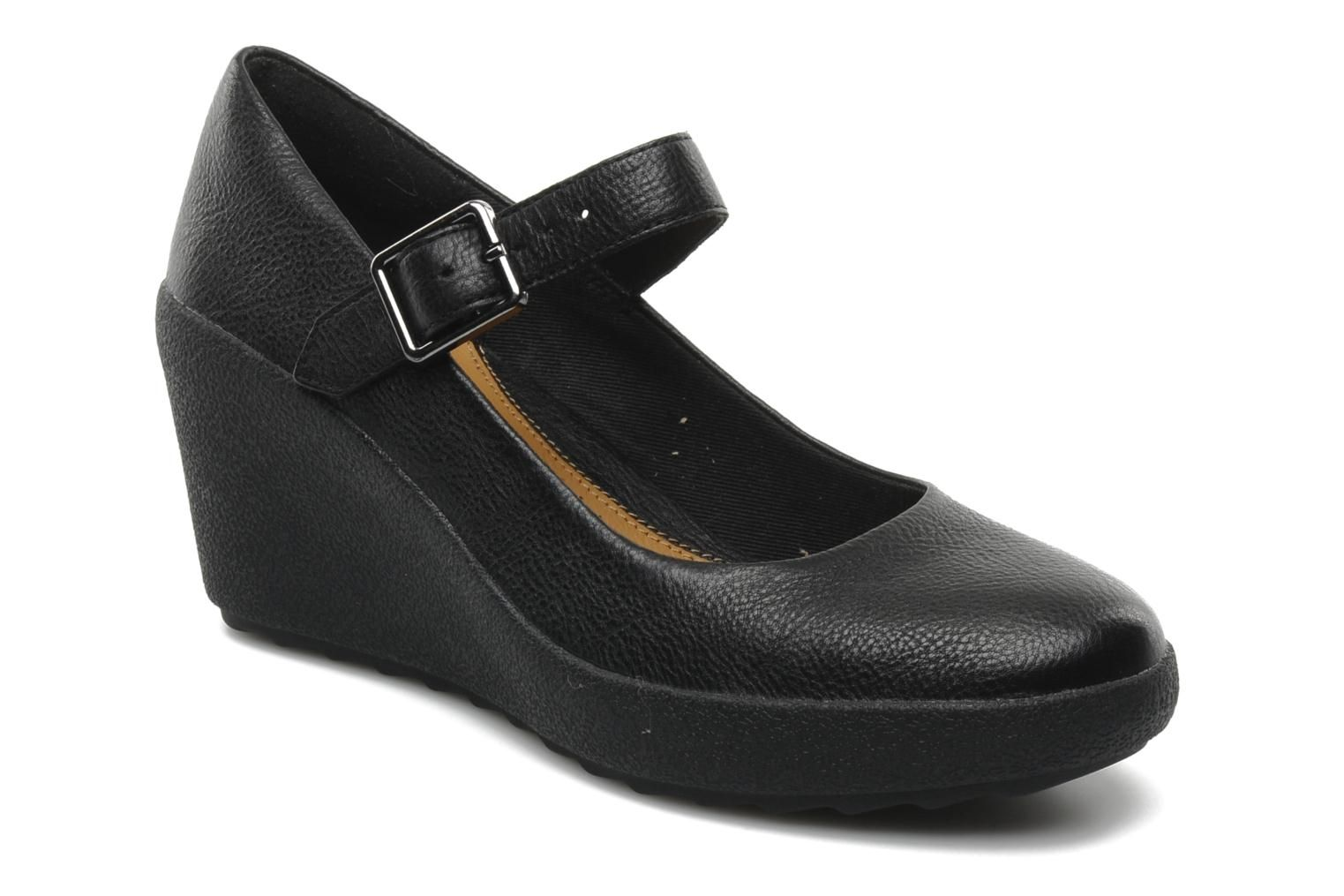 Clarks Black Patent Wedge Shoes
