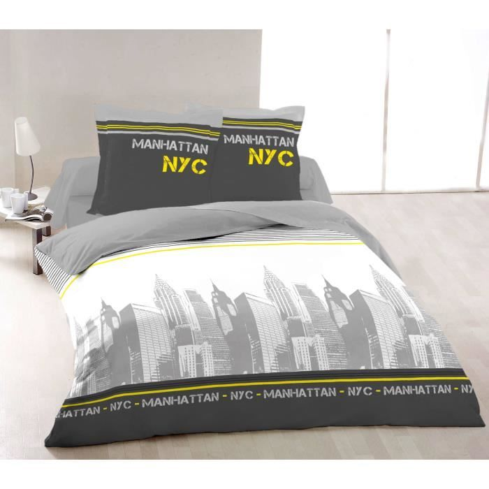 vision housse de couette new york jaune 220x240cm vision pickture. Black Bedroom Furniture Sets. Home Design Ideas