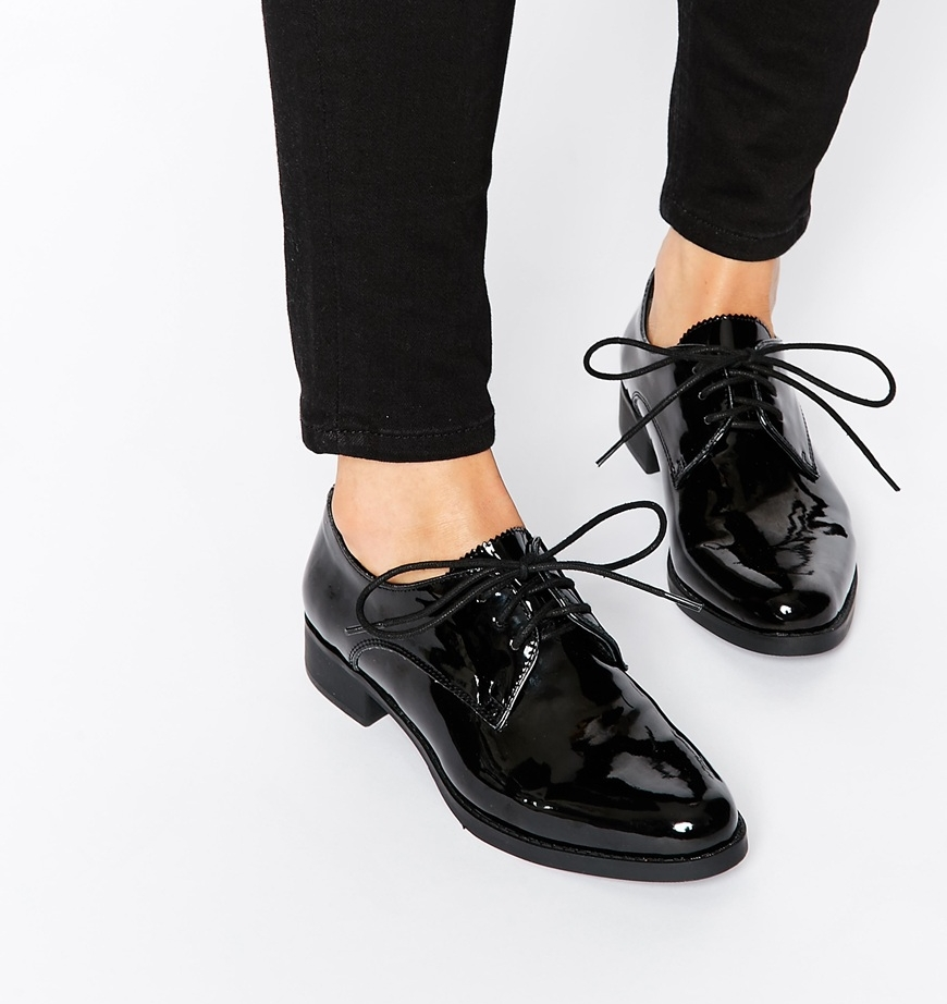 chaussures plates vernies noir asos pickture. Black Bedroom Furniture Sets. Home Design Ideas