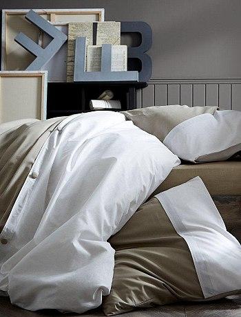 parure de lit bicolore boutons linge kiabi pickture. Black Bedroom Furniture Sets. Home Design Ideas