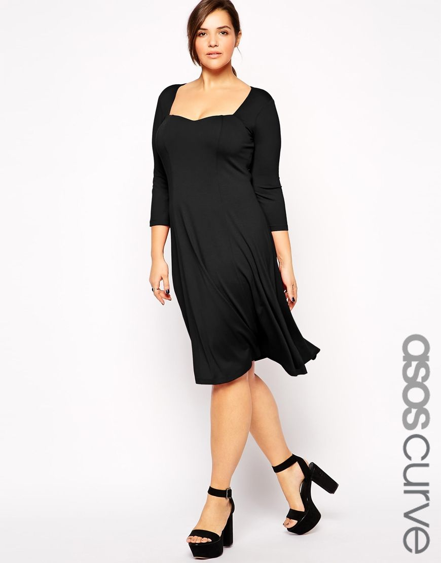 asos curve robe patineuse mi longue manches asos curve pickture. Black Bedroom Furniture Sets. Home Design Ideas