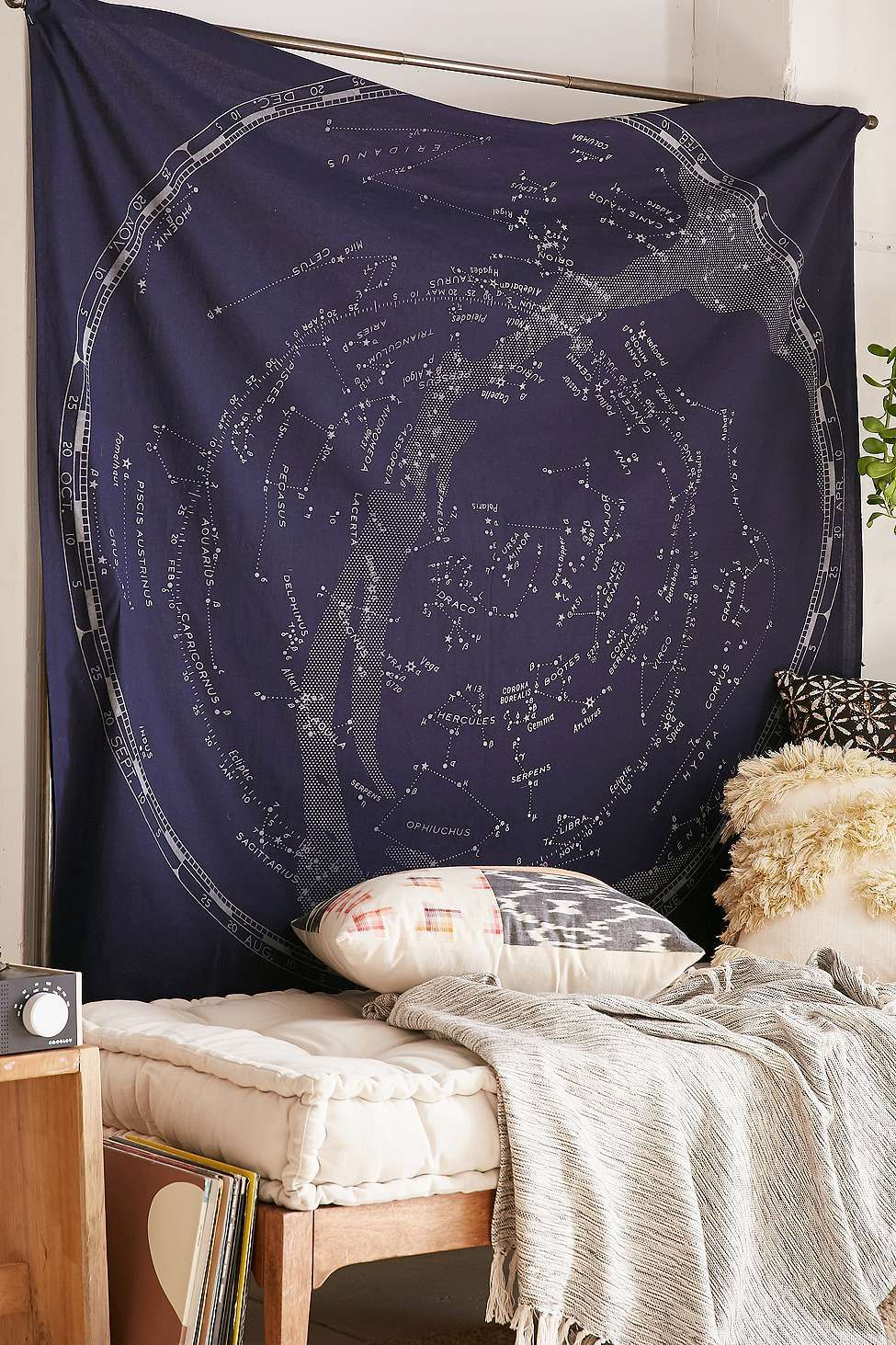 tapisserie motif constellations qui brillent dans urban outfitters pickture. Black Bedroom Furniture Sets. Home Design Ideas