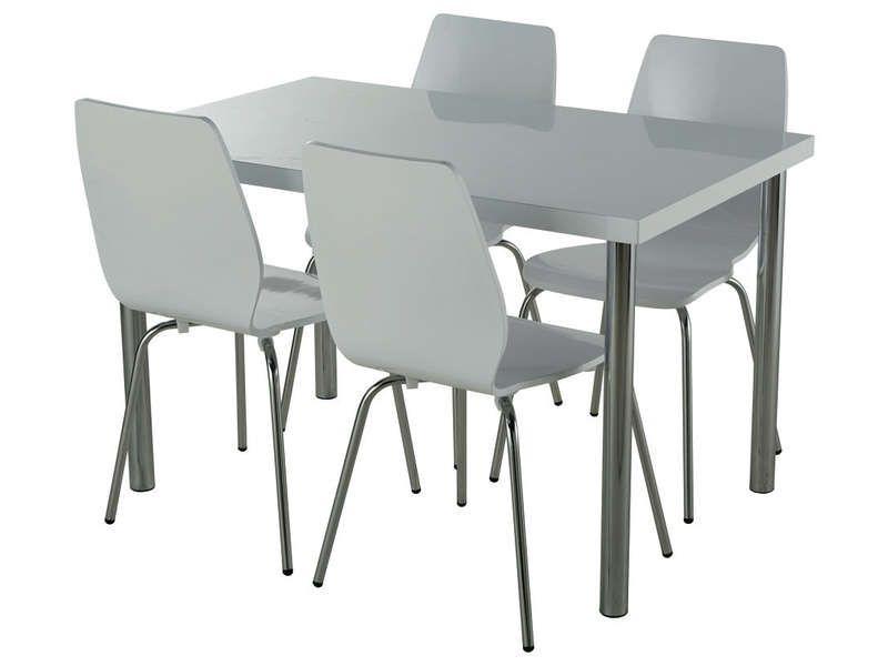 Ensemble table 4 chaises bolton coloris laqu for Table 4 chaises conforama