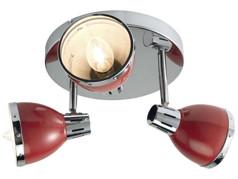 Plafonnier 3 lampes CYNTHIA coloris rouge Conforama
