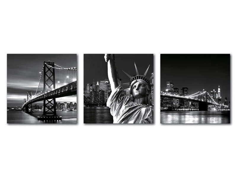 Lot de 3 cadre 20x20 cm nyc conforama pickture for Miroir new york conforama